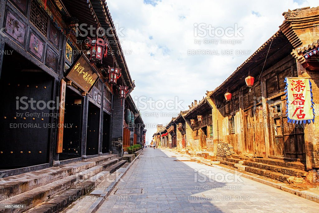 Folk house, stores and streets stock photo