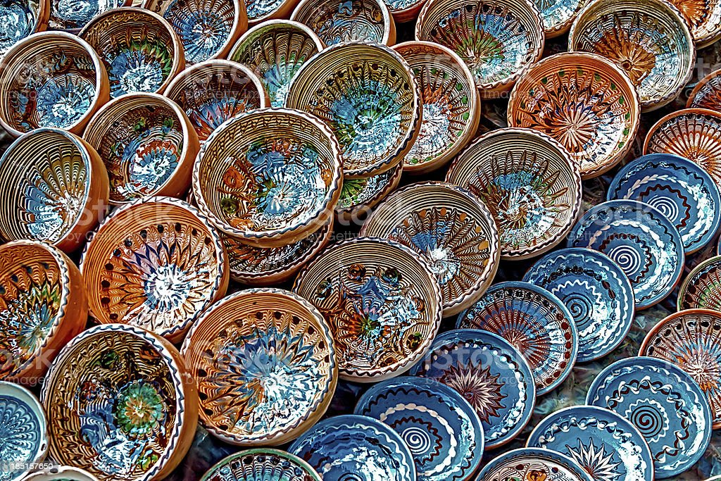 Folk pottery stock photo
