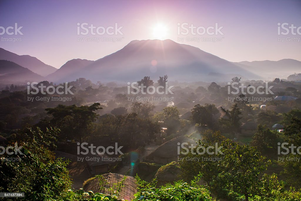 Folk Village sunrise royalty-free stock photo
