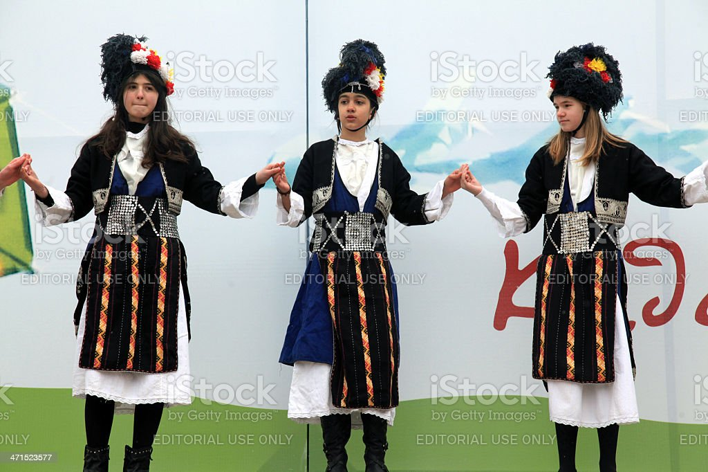 Folklore groups dance on traditional Ash Monday celebrations royalty-free stock photo