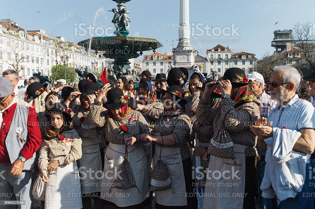 Folklore Women Singing Group in Lisbon stock photo