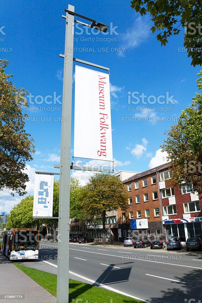 Folkwang Museum banners in Bismarck street Essen stock photo