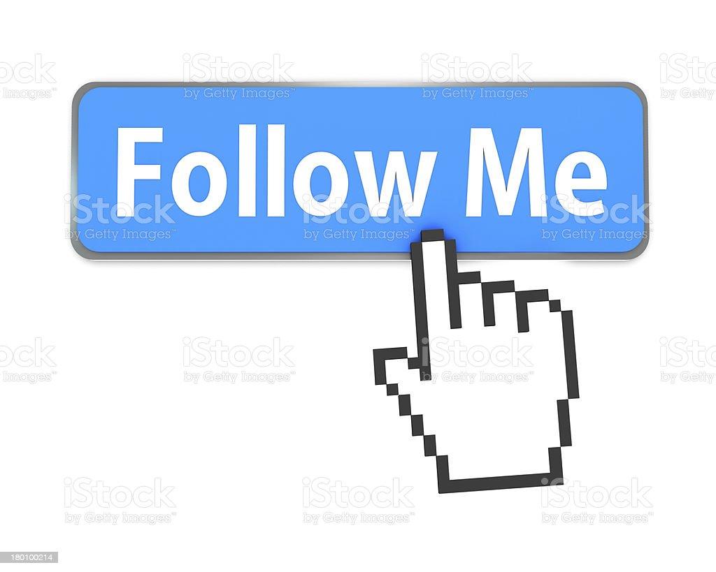 Follow Me button stock photo