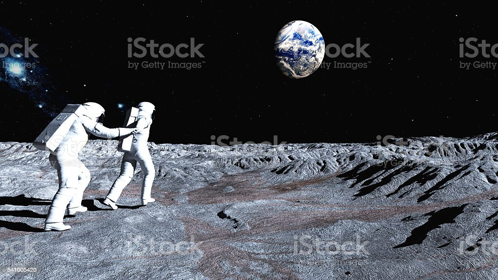 Follow me on the Moon stock photo