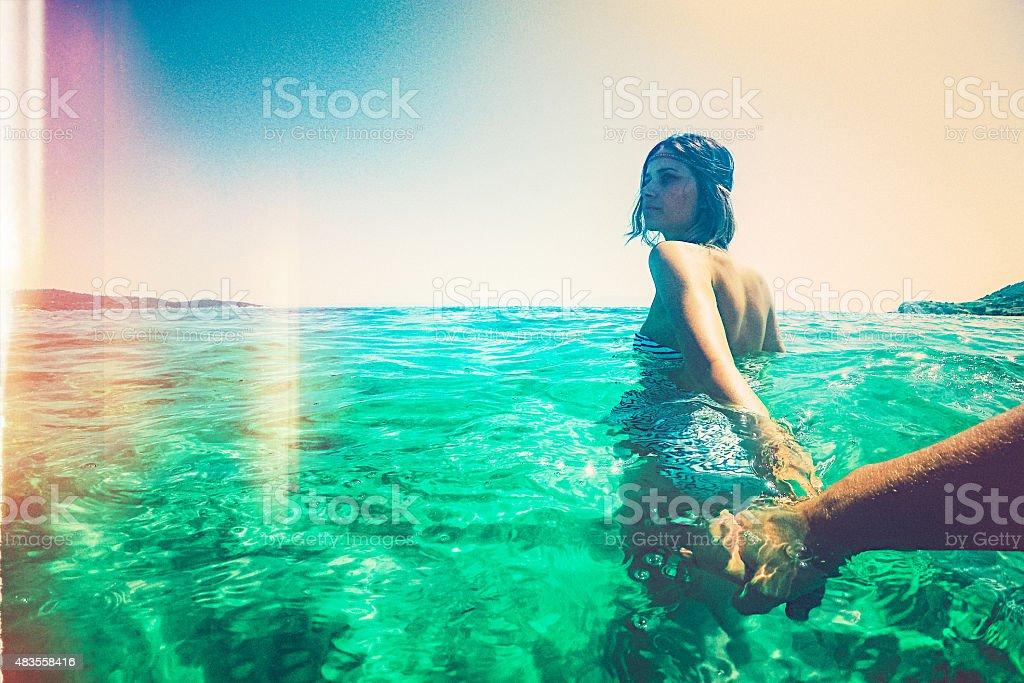 Follow me stock photo