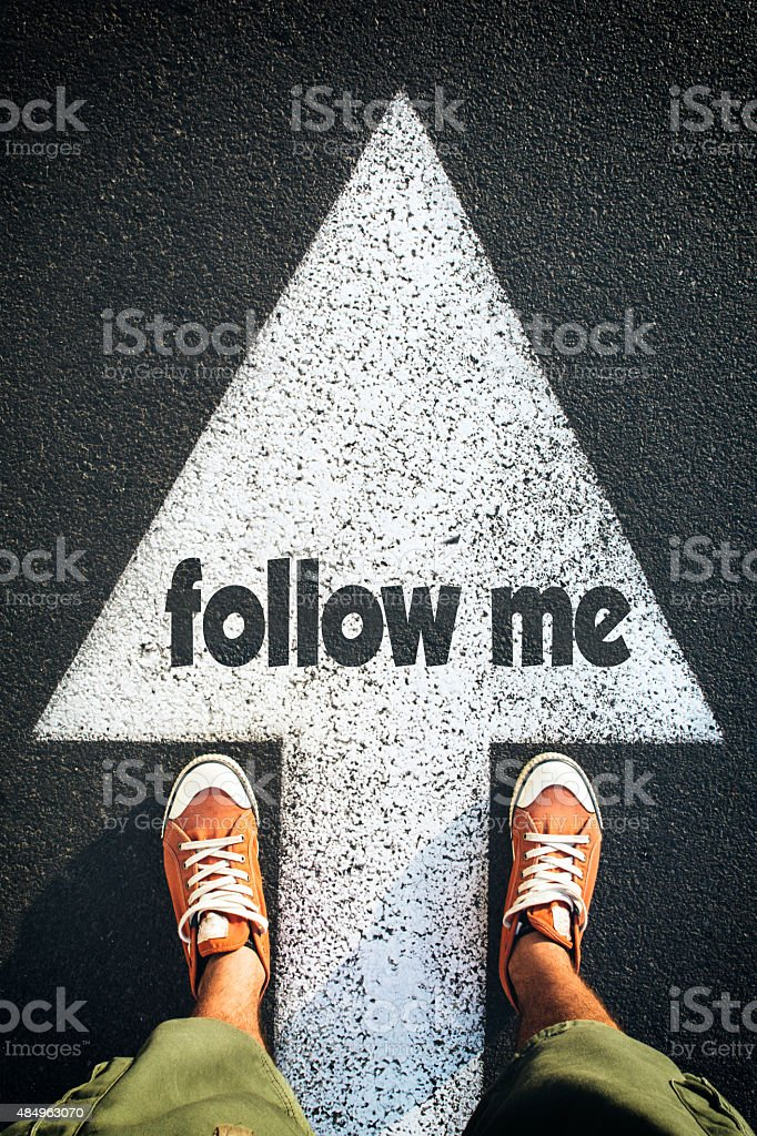 Follow me stock photo