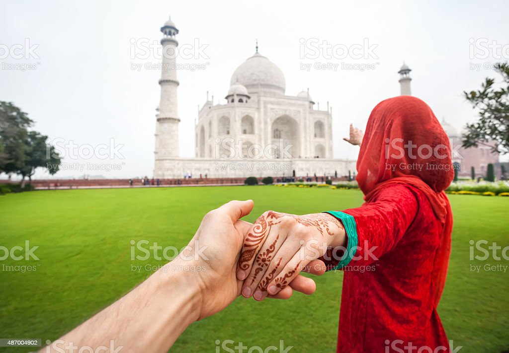Follow me to Taj Mahal stock photo