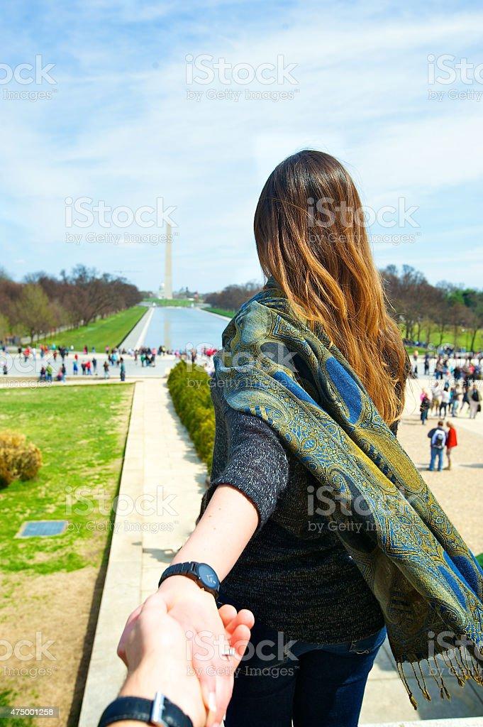 Follow me to Washington DC stock photo