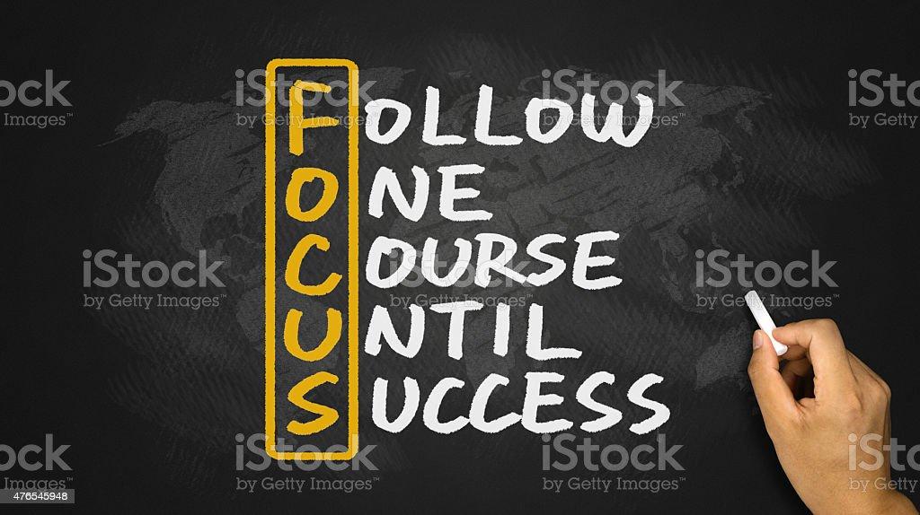 follow one course until success handwritten on blackboard stock photo