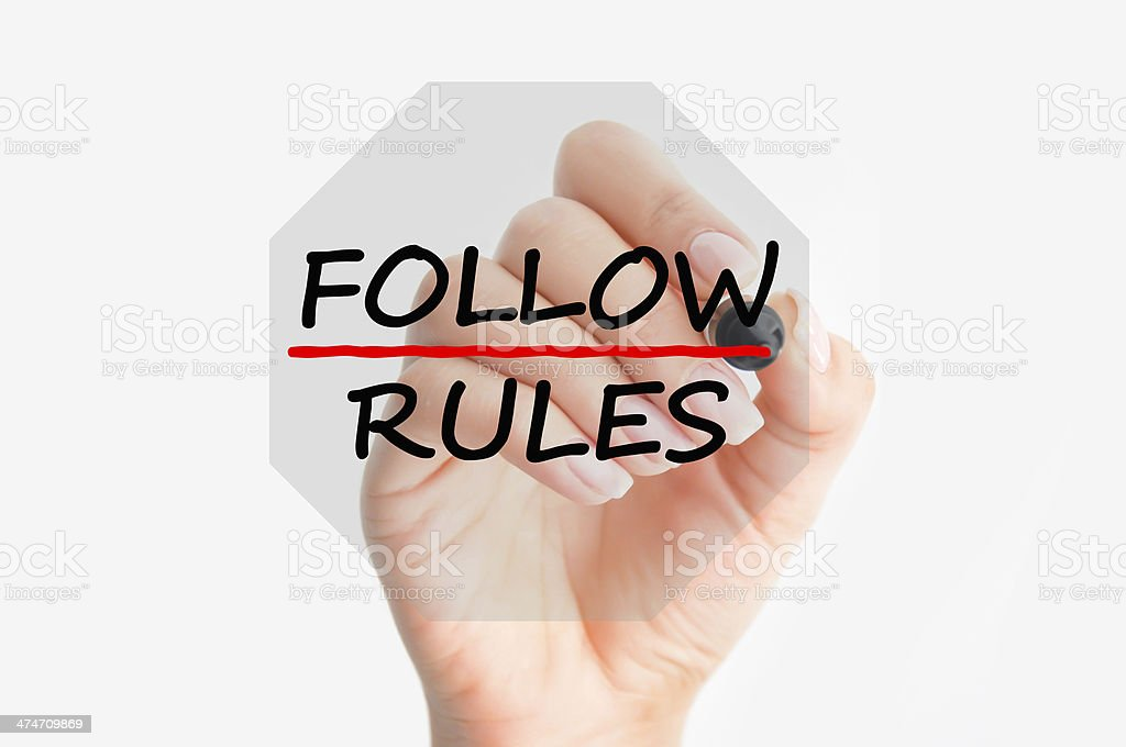 Follow rules concept royalty-free stock photo