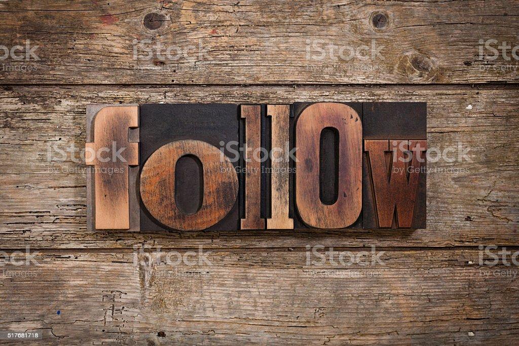 follow set with vintage printing blocks stock photo