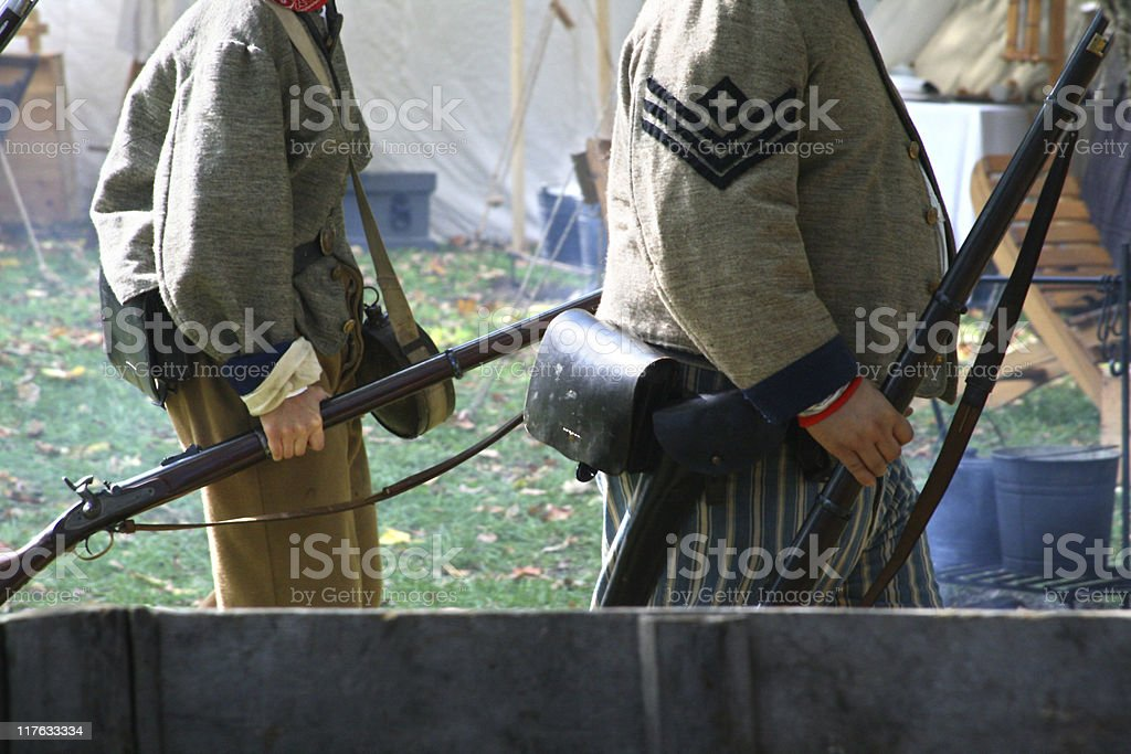 Follow the Leader: Confederate Army Training US Civil War stock photo