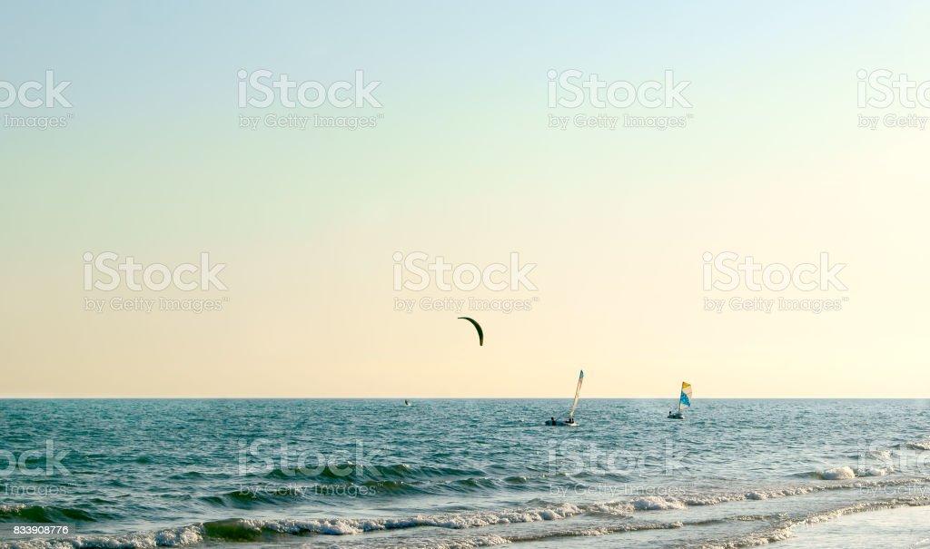 Follow the sun gliding stock photo