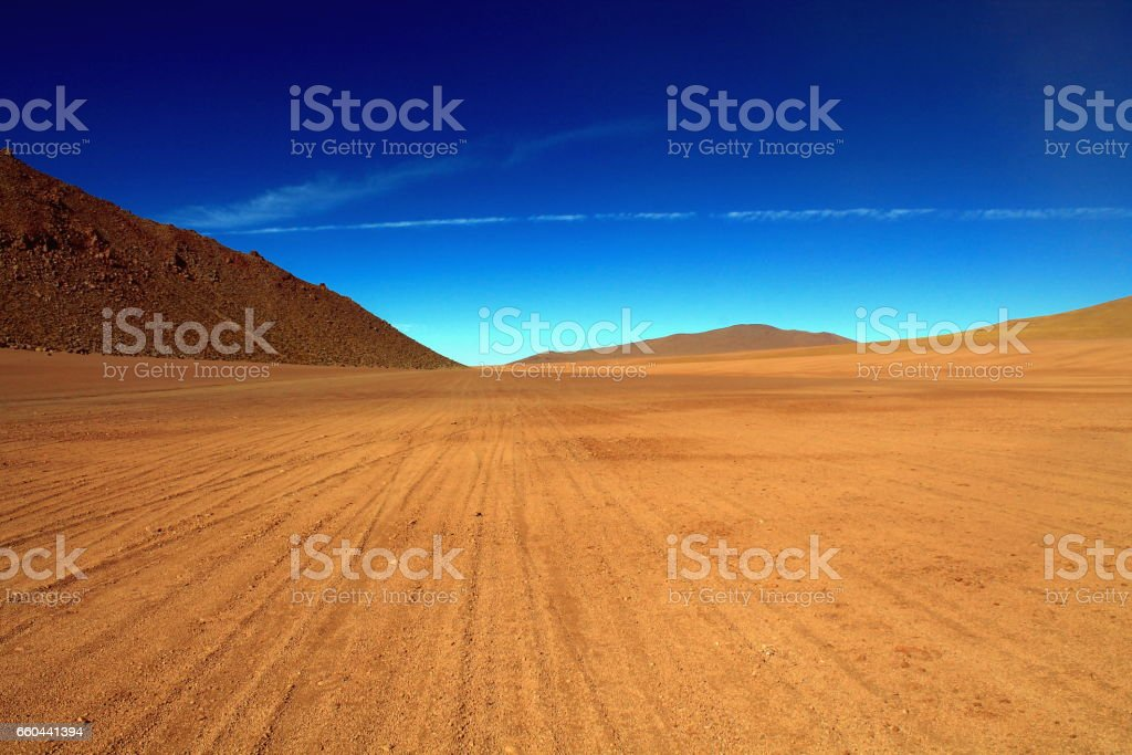 following many tracks over a lavafield stock photo