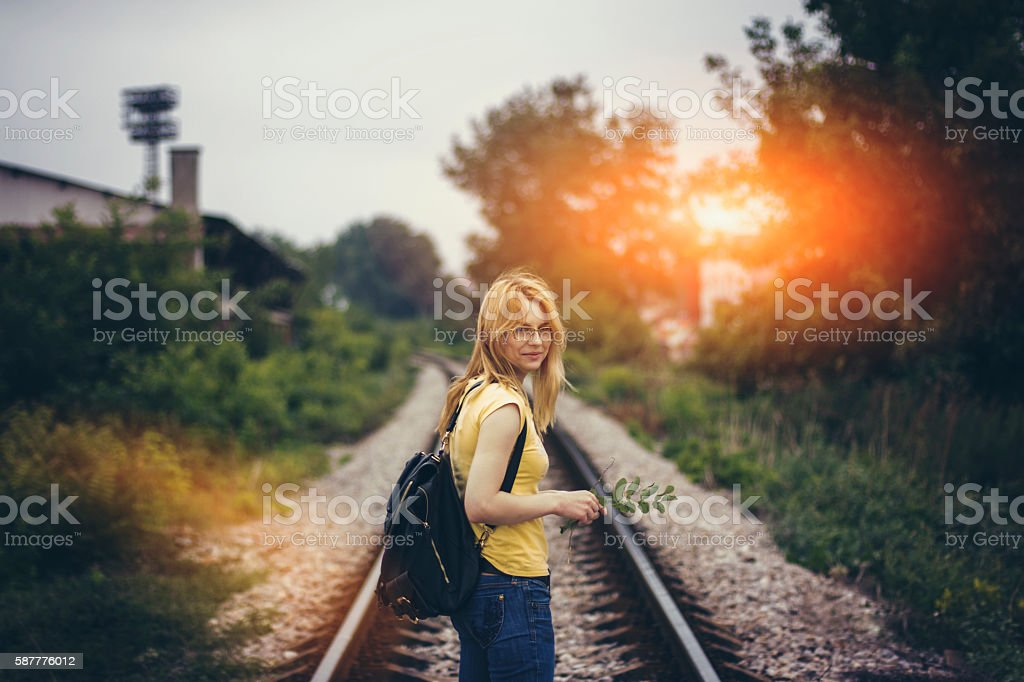 Following train route stock photo