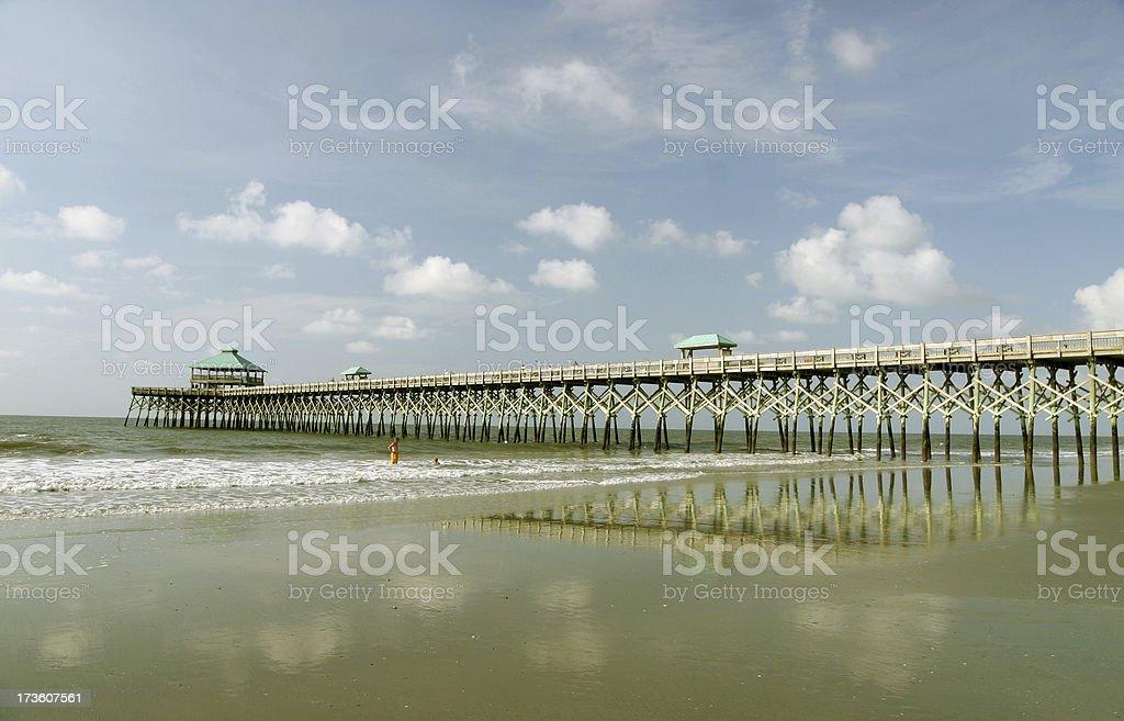 Folly Beach Fishing Pier royalty-free stock photo