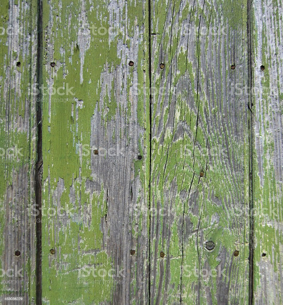 Fond - ancien bois peint en vert stock photo