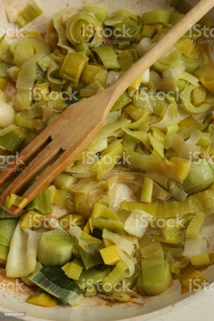 Fondue de Poireaux- Poêlée de poireaux stock photo