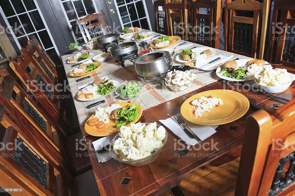 Fondue Dinner Background royalty-free stock photo