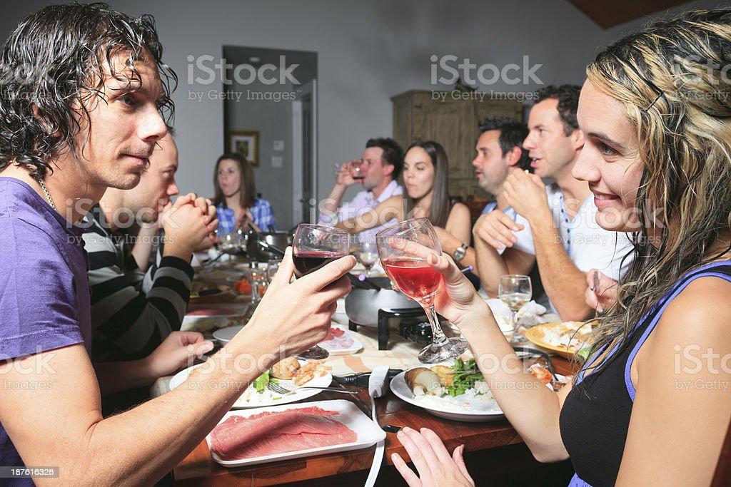 Fondue Dinner - Couple Social royalty-free stock photo