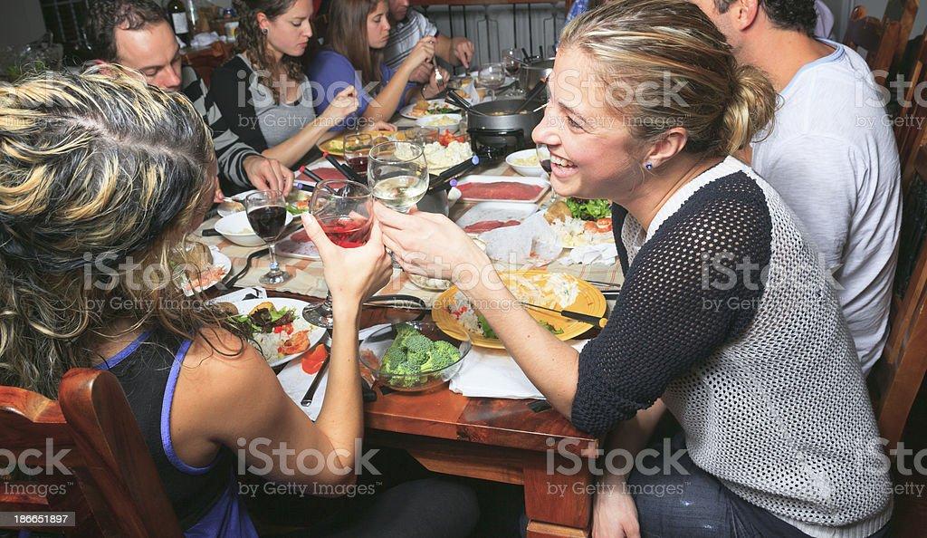 Fondue Dinner - Fun royalty-free stock photo