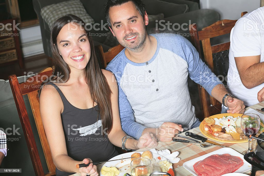 Fondue Dinner - Happy Couple royalty-free stock photo