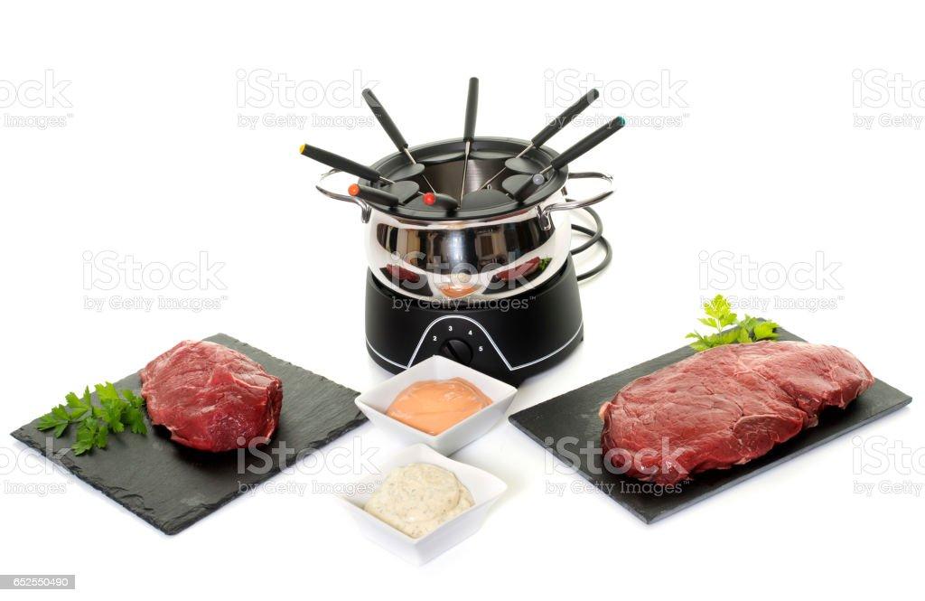 fondue pot stock photo