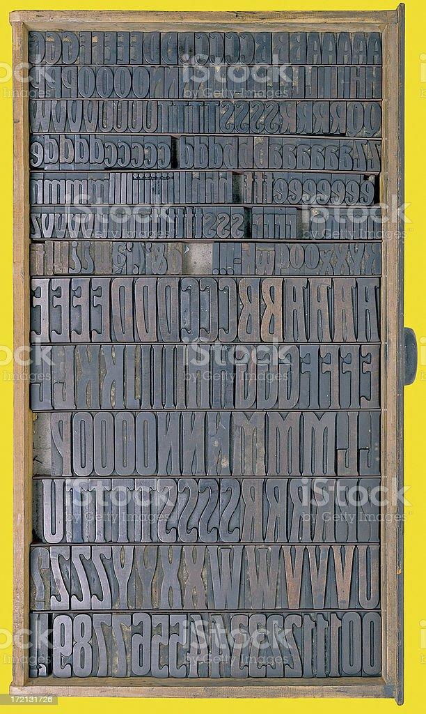 Font Box on yellow background stock photo