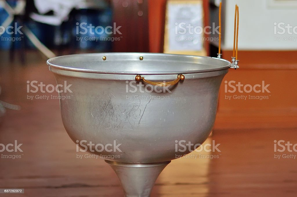 Font for the baptism in the Orthodox Church. stock photo