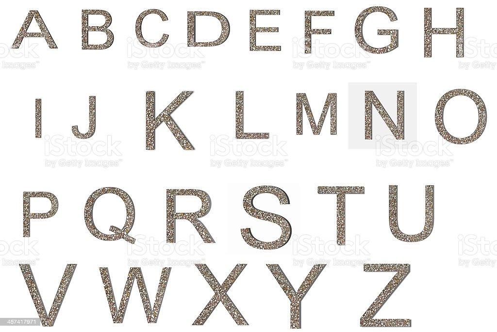 Font from old and weathered stone wall texture alphabet royalty-free stock photo