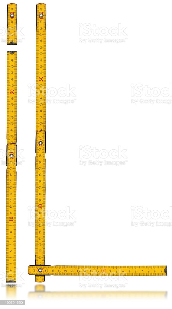 Font I and L - Old Yellow Meter Ruler stock photo