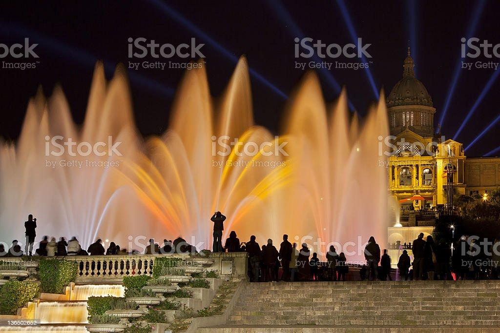 Font M?gica or Magic fountain show, Barcelona stock photo