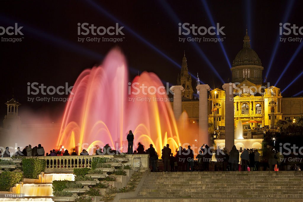 Font Màgica or Magic fountain show, Barcelona stock photo