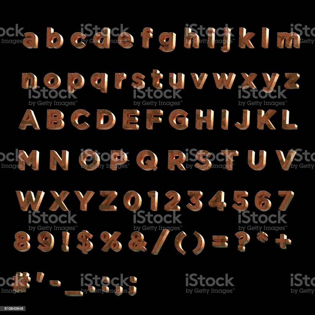 3D Font painted red fainted wood  wood- Full Alphabet stock photo