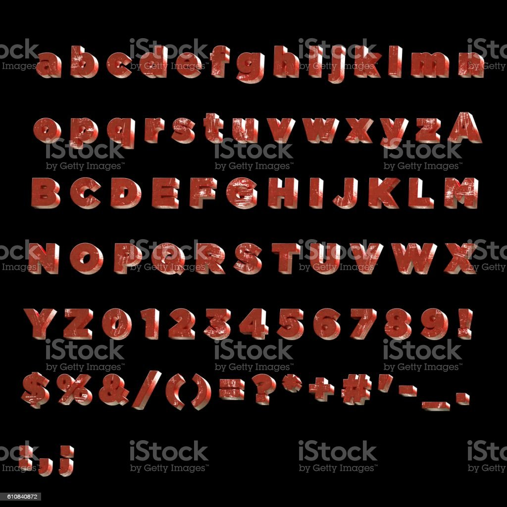 3D Font painted red metal- Full Alphabet stock photo