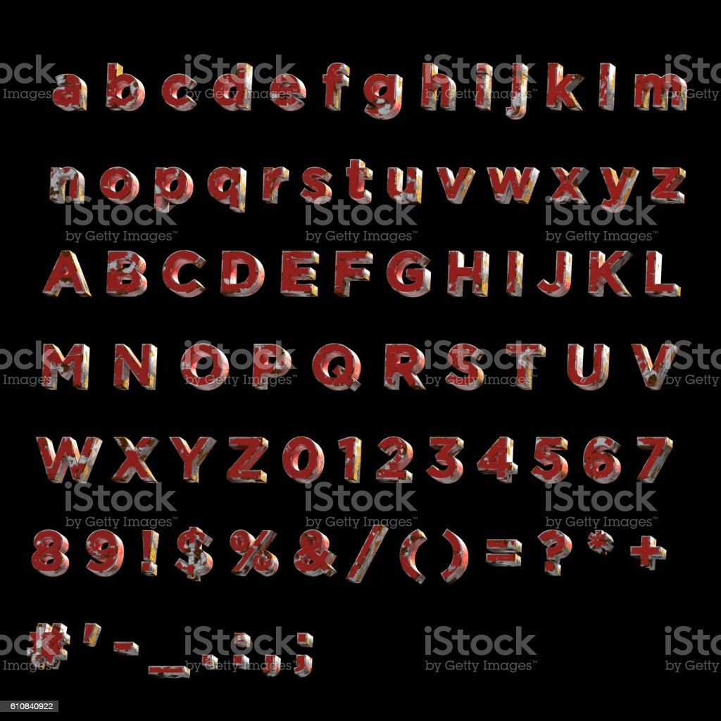 3D Font painted rusty red metal- Full Alphabet stock photo