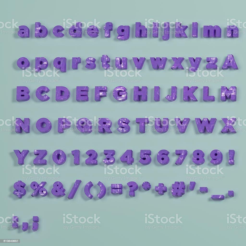 3D Font - vintage purple painted of full Alphabet stock photo