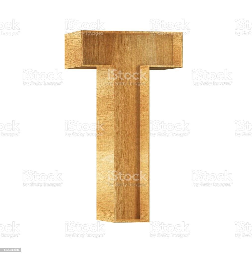 Font Wood T 3D Render Illustration stock photo