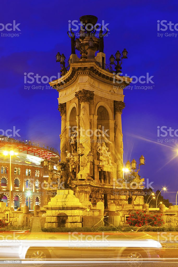 Fontain on Spain square at Barcelona in night royalty-free stock photo