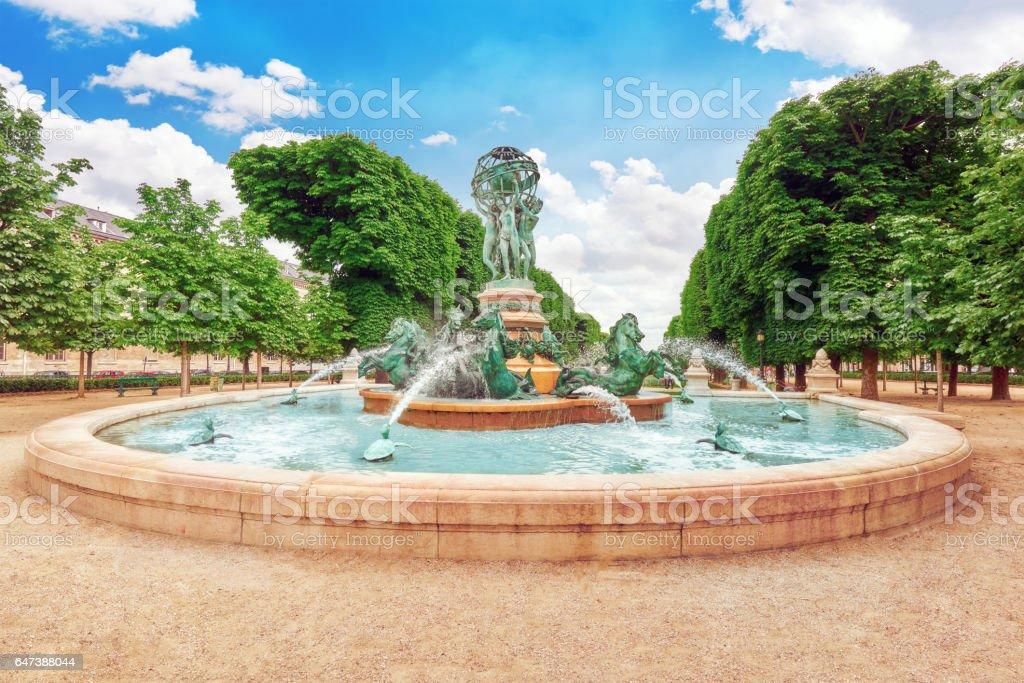 Fontaine de Observatoir near Luxembourg Garden in Paris. stock photo