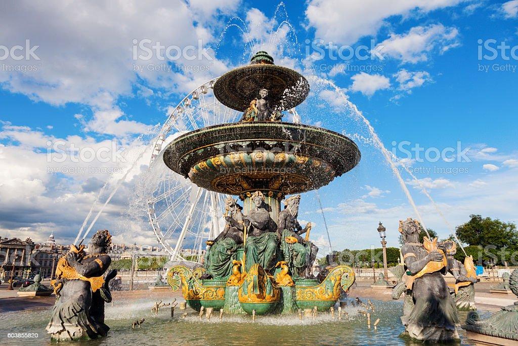 Fontaine des Fleuves on Place de la Concorde in Paris stock photo