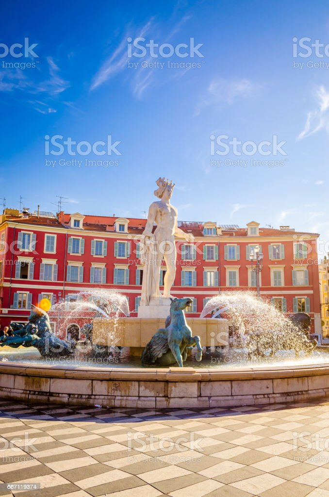 Fontaine du Soleil on Place Massena in Nice, Cote d'Azur, French stock photo