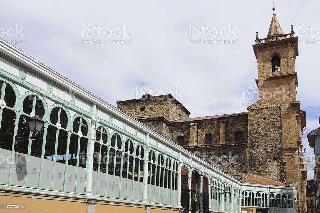 Fontan Market and Isidoro Church, Oviedo stock photo