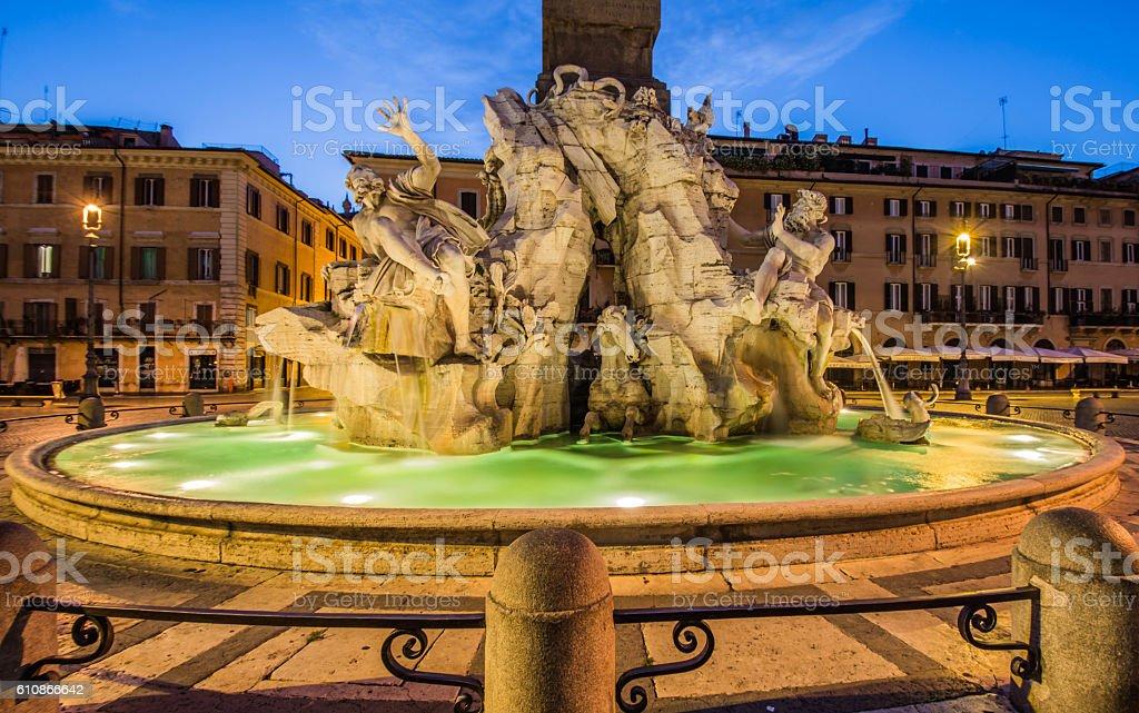 Fontana dei Quattro Fiumi, Piazza Navona, Rome, Italy stock photo
