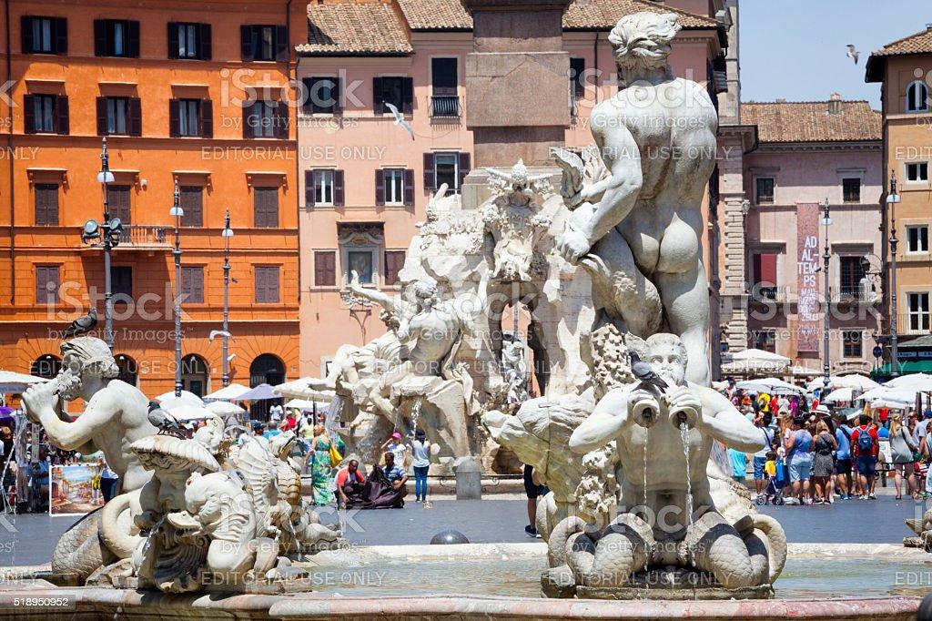Fontana del Moro at Piazza Navona in Rome, Italy stock photo