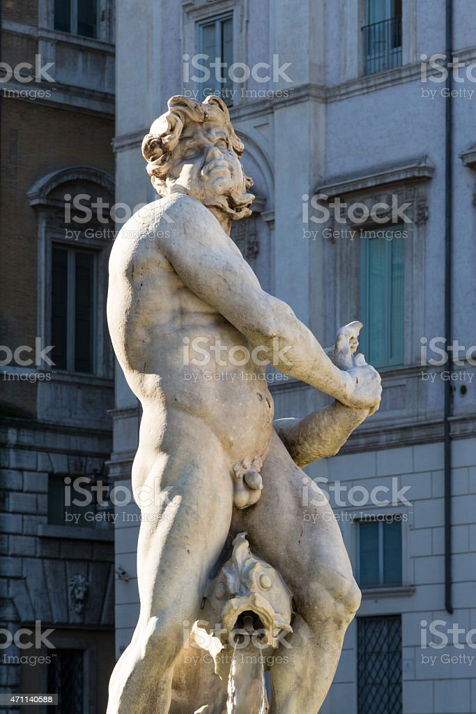 Fontana del Moro (Moor Fountain) - Piazza Navona in Rome stock photo