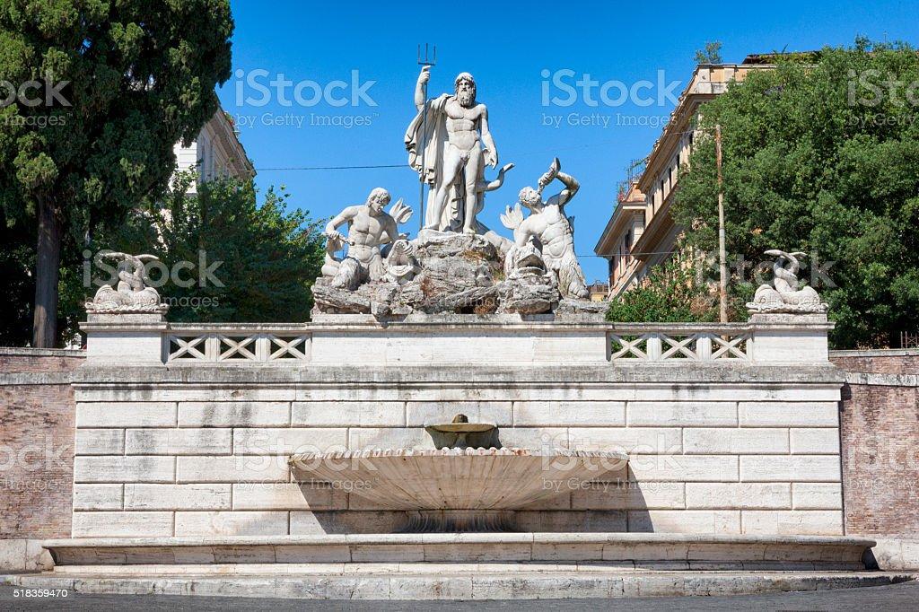 Fontana del Nettuno at Piazza del Popolo in Rome, Italy stock photo