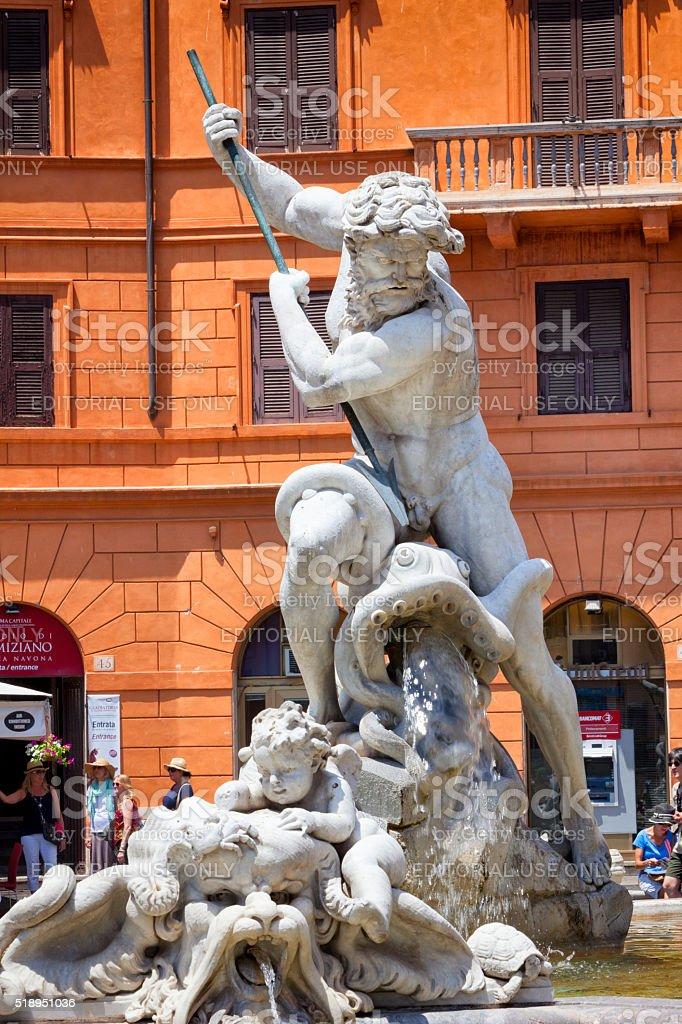 Fontana del Nettuno at Piazza Navona in Rome, Italy stock photo