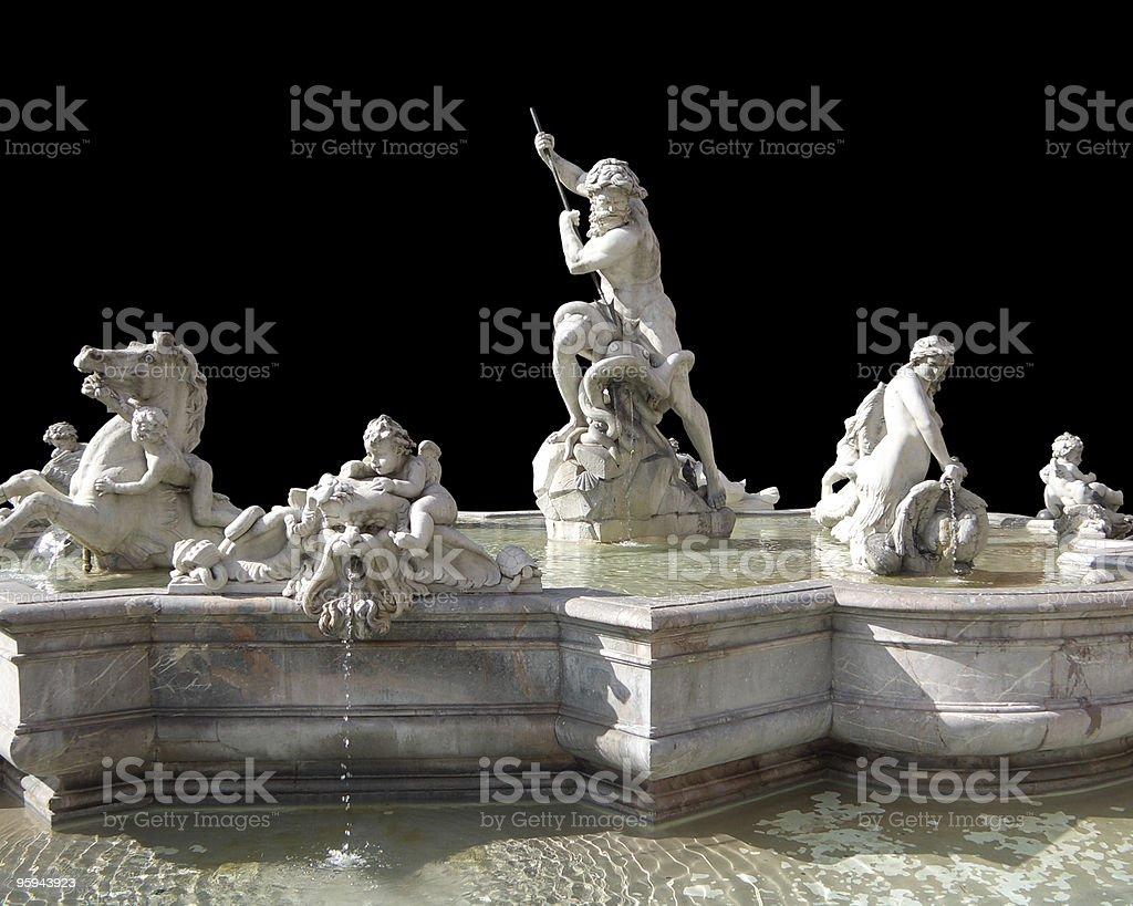 Fontana del Nettuno in black back stock photo