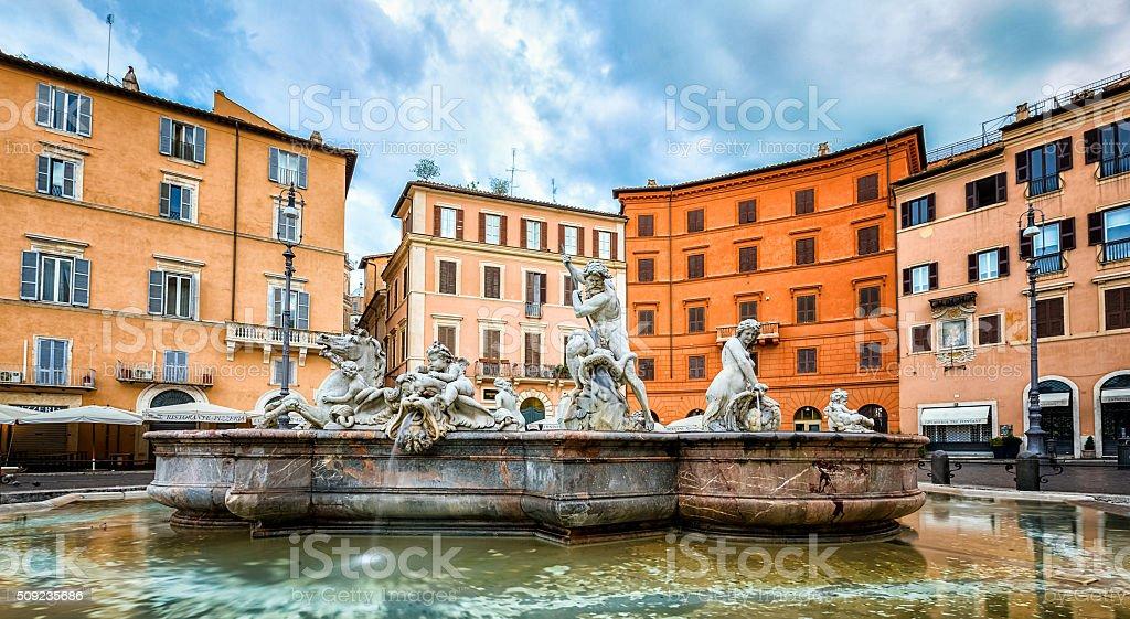 Fontana del Nettuno Piazza Navona stock photo
